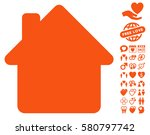 house icon with bonus dating... | Shutterstock .eps vector #580797742