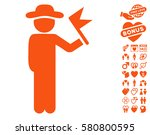 gentleman with flag icon with...   Shutterstock .eps vector #580800595