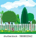 summer nature landscape with... | Shutterstock .eps vector #580802062