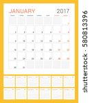 calendar template for 2017 year.... | Shutterstock .eps vector #580813396