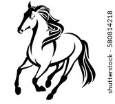 Stock vector running horse black and white vector outline 580814218
