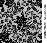 seamless black vector lace... | Shutterstock .eps vector #580820008
