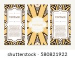retro card with mandala.... | Shutterstock .eps vector #580821922