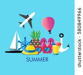 vector illustration of summer... | Shutterstock .eps vector #580849966