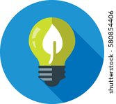 light bulb with leaf icon | Shutterstock .eps vector #580854406