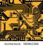 circuit board vector art line....   Shutterstock .eps vector #580862386