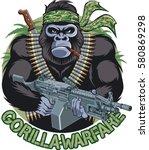 gorilla with bandana  cigar ... | Shutterstock .eps vector #580869298