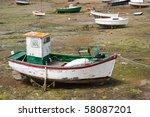 Fishing Boat At Ebb Tide In...