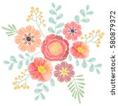 embroidery stitches with... | Shutterstock .eps vector #580879372