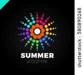 summer sun with dot logo....   Shutterstock .eps vector #580890268