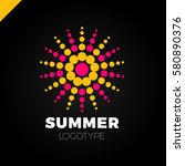 summer sun with dot logo.... | Shutterstock .eps vector #580890376
