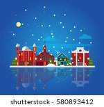 flat winter city landscape... | Shutterstock .eps vector #580893412