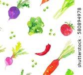 vegetables on a white... | Shutterstock . vector #580894978