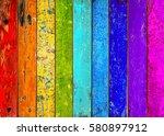 colorful wooden planks retro... | Shutterstock . vector #580897912