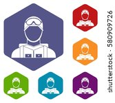 military paratrooper icons set... | Shutterstock . vector #580909726