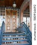 decorative wooden entry doors... | Shutterstock . vector #580916692