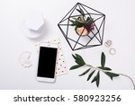 feminine tabletop flatlay with ... | Shutterstock . vector #580923256
