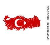 map flag turkey   Shutterstock .eps vector #58092433