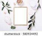 golden frame mock up on white... | Shutterstock . vector #580924492