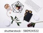 white feminine tabletop flatlay | Shutterstock . vector #580924522