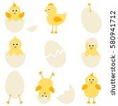 set of cartoon chickens for...   Shutterstock .eps vector #580941712