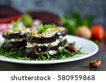 appetizer of eggplant and nut... | Shutterstock . vector #580959868