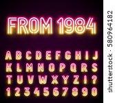 glowing neon tube font. retro... | Shutterstock .eps vector #580964182