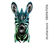 Head Of Zebra  Vector Color...