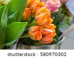 Orange Tulips In The Vase.