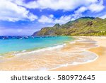 Beach on Machico bay, Madeira Island, Portugal