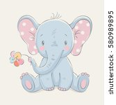 cute elephant with a flower... | Shutterstock .eps vector #580989895