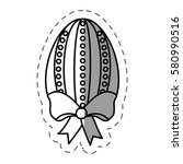 easter egg with bow vector... | Shutterstock .eps vector #580990516