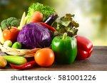 fresh vegetables. | Shutterstock . vector #581001226
