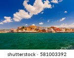 old harbour of chania with... | Shutterstock . vector #581003392