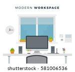 Modern Workspace With Window O...