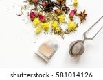 herbal tea on white backgroung... | Shutterstock . vector #581014126