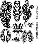 set of tribal tattoo. | Shutterstock .eps vector #58101967
