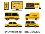 city road yellow taxi transport ...   Shutterstock .eps vector #581030302
