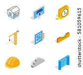 construction icons set.... | Shutterstock . vector #581059615