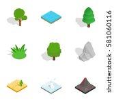 natural landscape icons set.... | Shutterstock . vector #581060116
