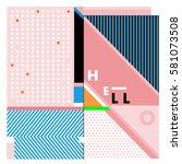 trendy vector summer cards...   Shutterstock .eps vector #581073508