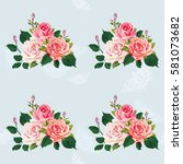 seamless floral pattern with... | Shutterstock .eps vector #581073682