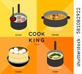 cook king five 4 of cooking... | Shutterstock .eps vector #581082922