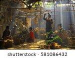 traditional market under the...   Shutterstock . vector #581086432