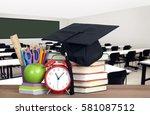 blurry empty classroom in... | Shutterstock . vector #581087512