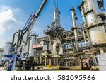 oil refinery construction | Shutterstock . vector #581095966