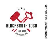blacksmith logo design template | Shutterstock .eps vector #581102935