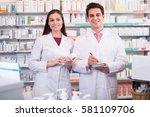 portrait of smiling pharmacist... | Shutterstock . vector #581109706