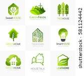 green house logo templates.... | Shutterstock .eps vector #581124442