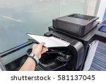 Woman Put Paper Into Printer...